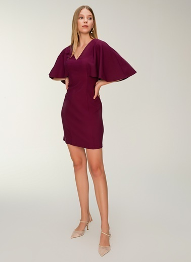 NGSTYLE Sırtı Bant Detaylı Pelerin Kollu Elbise Mürdüm